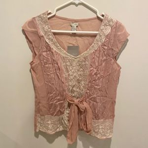 Anthropologie Odille Lavande Silk Lace Tie Top